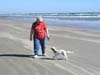 Freda Berry and Sonny on a beach at the Aransas Pass Park.
