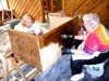 Freda Berry and Rita Frantzen are going strong on the staining.