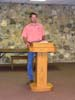 This is a very tall pulpit for a very tall man.  6 foot, six inch tall Wayne Chitwood allowed us to set up our shop in his shop and garage so we built a special pulpit for him to use in his church work.