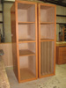 A pair of upright storage shelves.
