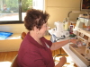 Delores Turner is enjoying sewing and chatting