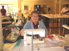 Kathy Qualls gets set for another day making clothes