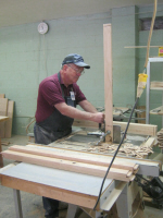 We cut many tenons for the bunk bed ends.  Richard Adcock is doing his part by making one of the many parts for a tenon.