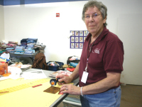 Ann Koenig, a new member of the group, was so very helpful.  She sorted all our material and cut hundreds of squares for future quilts.