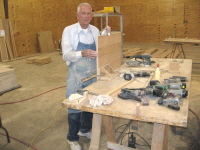 There is always a lot of sanding to be done.  Richard Brewer, our senior statesman, is sanding a shelf for a cabinet.