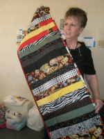 Caroline Adcock shows off her table runner.