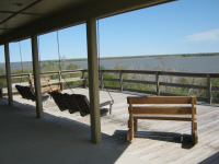 The people staying in the camp's motel loved sitting on the patio with the view out across Lake Corpus Christi.