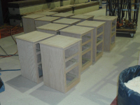 Finished night stands for the motel rooms.