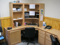 We built a double set of corner desks for this office.  A similar mirror image section was to the right.