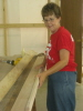 We always enjoy having the wives work with us.  Sharon Murphy is assembling side boards in this picture.